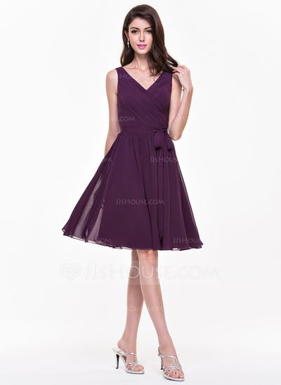 [US$ 96.99] A-Line/Princess V-neck Knee-Length Chiffon Bridesmaid Dress With Ruffle Bow(s) (007068152)