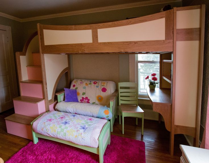 Custom Made Girls Twin Loft Bunk Bed With Stairs Futon And Deskinspiration For Tiny People Furniture