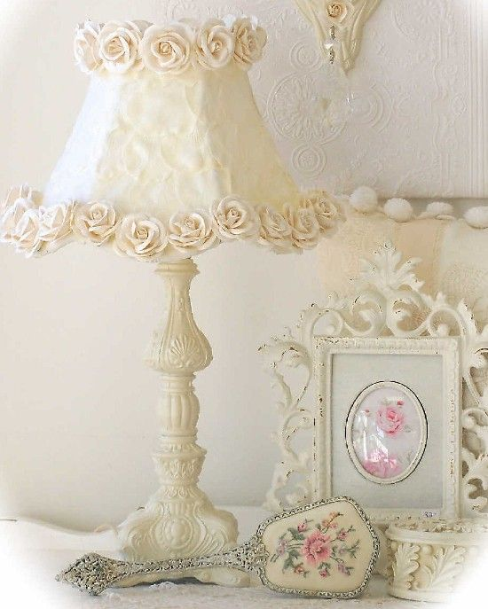 Vintage Style Romantic Lighting Collection Romantic Cottage Style Lamp Cream Rose Petal Shade-Vintage, Romantic, Shabby, Cottage, Chandelier, Lighting, Roses, Lamp,