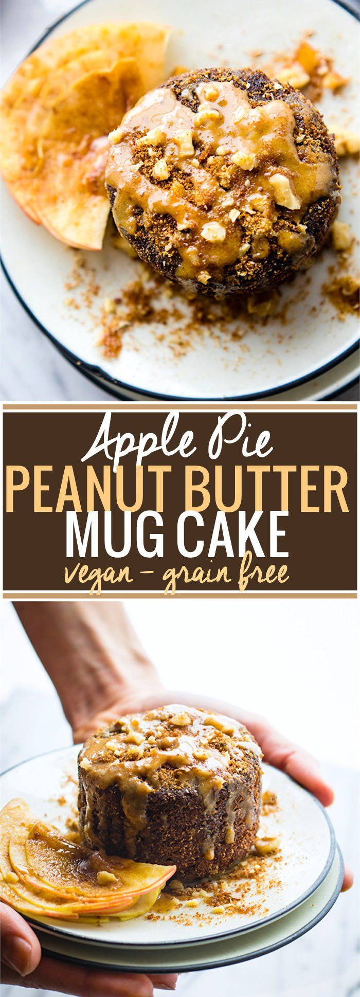 Need a quick healthy Breakfast recipe? Try this deliciously tasty Vegan Apple Pie Peanut Butter Mug Cake! A vegan mug cake that taste like dessert! Grain free, gluten free, kid friendly, and ready in less than 2 minutes. @cottercrunch