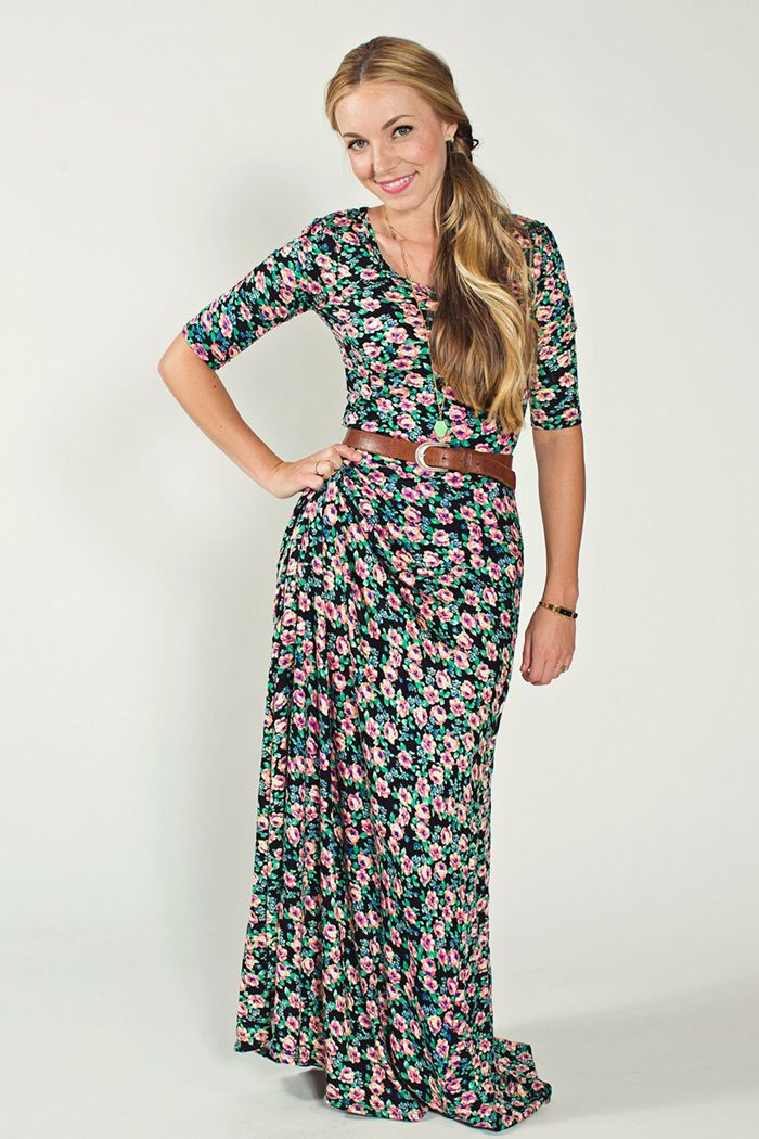 Lularoe Ana Maxi Dress - this floral print is really cute with the brown belt. Love this dress!