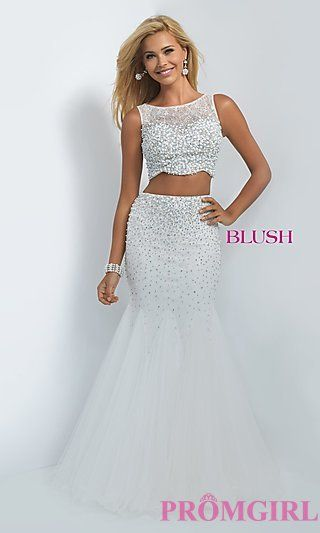 Off White Two Piece Prom Dress by Blush at PromGirl.com