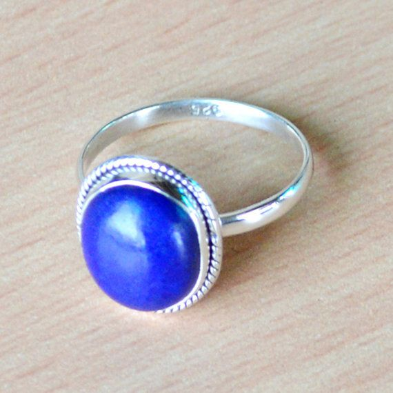 Summer/Fathers Day offer:Get 25% discount on Min Purchase $25 coupen code - SUM15 for all products Classic Design Ring of Lapis Lazuli Gemstone in by DevmuktiJewels