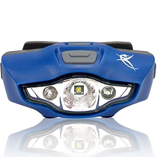 LED Headlamp Flashlight – Brightest Headlight, 1 AA Battery, Only 1.5 oz. – Waterproof – with 4 White, 2 Red & SOS Light Modes – Best Headlamps for Running, Cycling, Camping, Reading, Crafts & DIY Chores – By SmarterLife Products® (Midnight Blue)