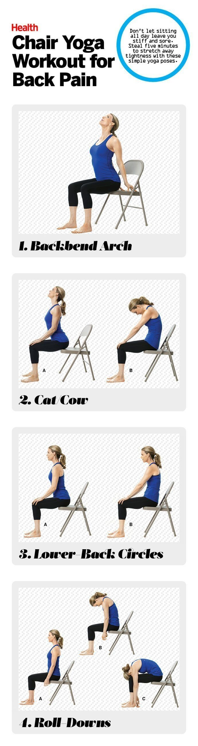 Don't let sitting all day leave you stiff and sore. Steal five minutes to stretch away tightness with these simple yoga poses.
