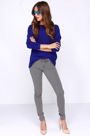 My new favorite online website! Lulu's.com  Cute Royal Blue Top - Sweater Top - Open Back Top - $29.00.
