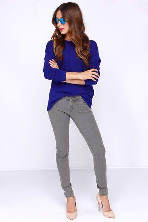 My new favorite online website! Lulu's.com  Cute Royal Blue Top - Sweater Top - Open Back Top - $29.00.
