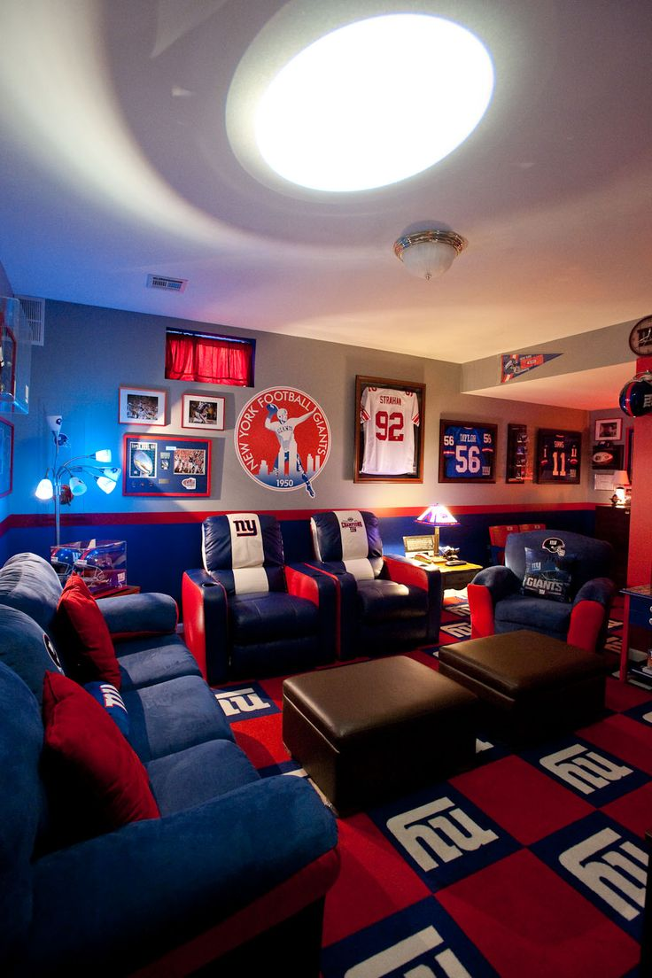 new york giants mancave. my dream house will have this just for when me and my dad want to watch giants kick the patriots ass