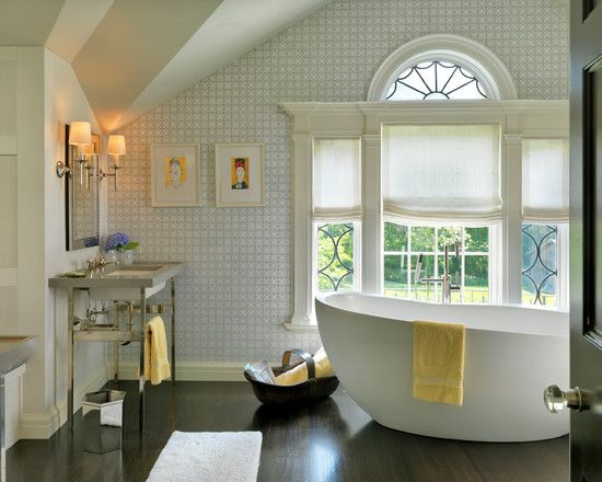 , Cool Transitional Bathroom With Arch Lead Glass Windows And White Retractable Curtains Also Dark Brown Laminate Floor Also White Bath Mat Also Classic Stainless Vanity Also Modern Mirror And Wall Lights: Leaded Glass Windows and Some Window Options