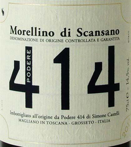 ★★★ Morellino di Scansano DOCG Podere 414 anno 2011