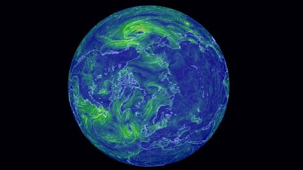 This dynamic map shows exactly which way is the wind is blowing everywhere on Earth