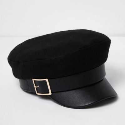 Shop for Womens Black gold buckle baker boy hat by River Island on ShopStyle.
