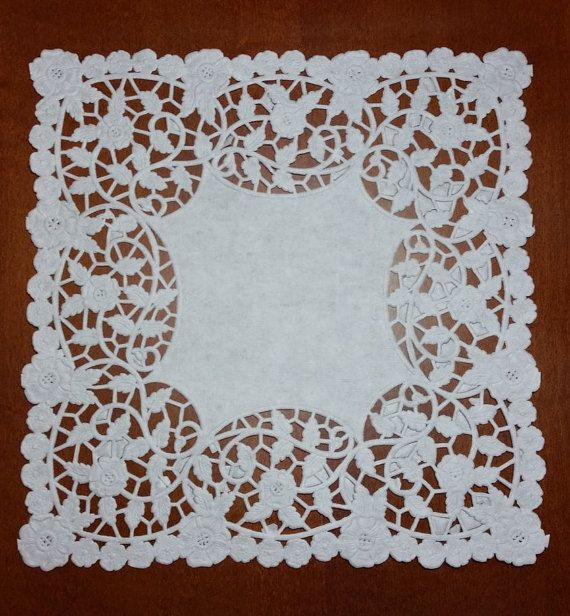8 Square paper doilies-25 Pieces by ATatteredDream on Etsy