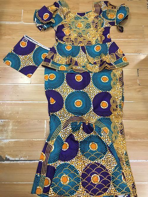 African Ankara Print Dress, Ankara Dress, Ankara Blouse and Wrapper Skirt, Long Dress, African Dress, Shaped Ankara Dress, African Fashion, African Clothing, short top with wrapper and scarf 3pieces/set For women