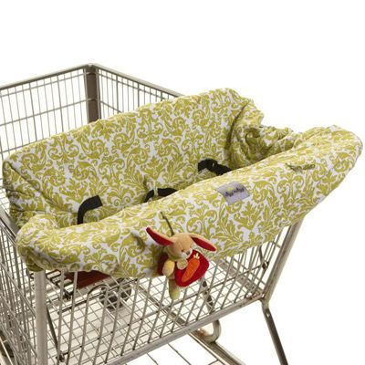 """""""NEED! It fits even the Costco carts!"""" -Sharmela Itzy Ritzy Shopping Cart & High Chair Cover Damask Avocado from @Layla_Grayce #laylagrayce #baby #gear"""