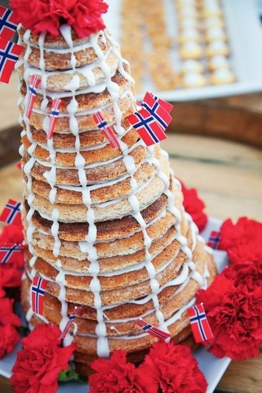 Denmark and Norway  Kransekake — a cake made from almonds, sugar, and egg whites enjoyed on special occasions like Christmas and weddings — has a sweet structure: it gets its cone shape from many concentric rings stacked and held together with icing.