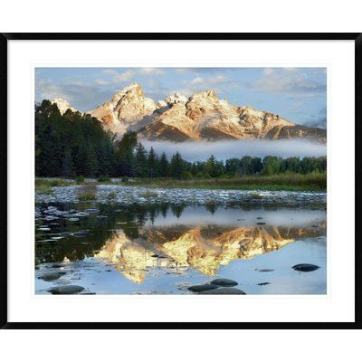 """Global Gallery Pond Reflecting Grand Tetons, Grand Teton National Park, Wyoming by Tim Fitzharris Framed Photographic Print Size: 30"""" H x 38"""" W x 1..."""