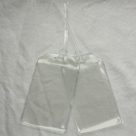 Clear Vinyl Plastic Luggage Tags Diy Set Of 20