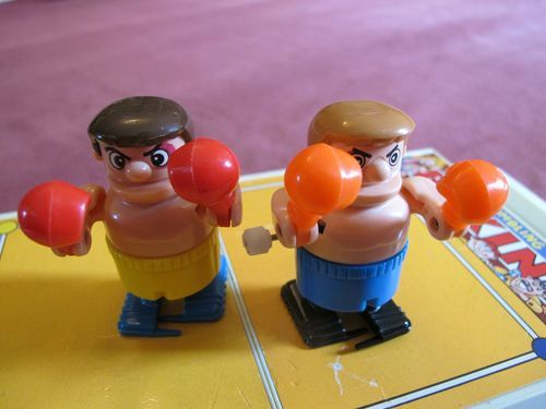Vintage Bumbling Boxing Tomy Wind Up Action Toy Boxers 1970's Travel Game