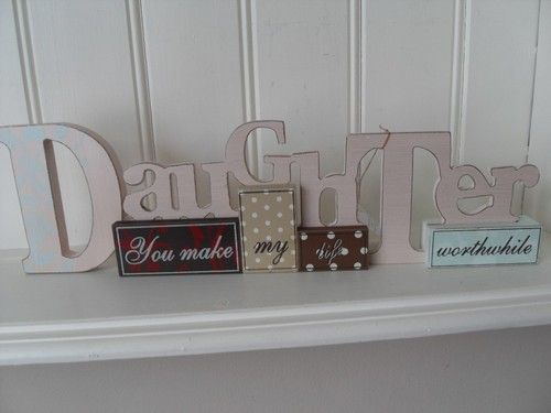 DAUGHTER YOU MAKE MY LIFE WORTHWHILE TABLE TOP SIGN CHIC N SHABBY WOODEN PLAQUE