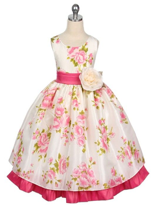 Fuchsia Satin and Organza Flower Print Flower Girl Dress Sizes Infant-12 in 3 Colors