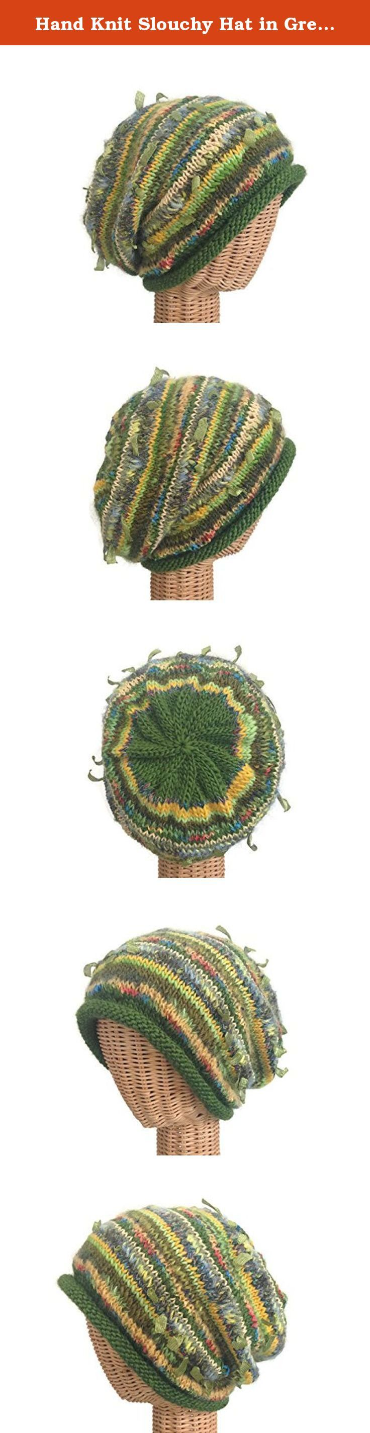 """Hand Knit Slouchy Hat in Green Wool. This gorgeous green slouchy hat is a Women's medium with plenty of """"give."""" It is knitted combination of various novelty yarns and wool. It measures approximately 22 inches around and 11-inches from its rolled brim to the top."""