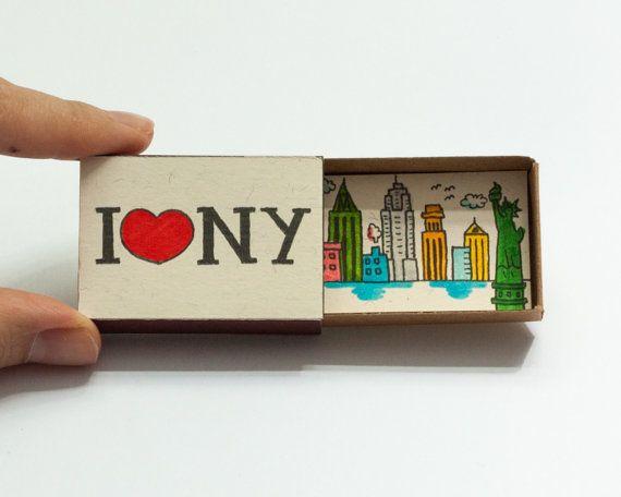 Ich liebe NY Card Kühlschrank-Magnet Matchbox / von shop3xu