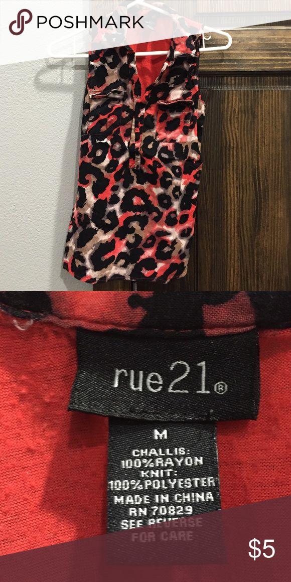 Rue 21 sleeveless shirt Cheetah print shirt is size M. Worn few times. Rue21 Tops Tees - Short Sleeve