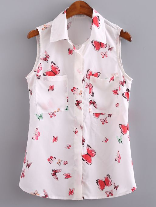 White Lapel Pockets Buttons Butterfly Printed Blouse.