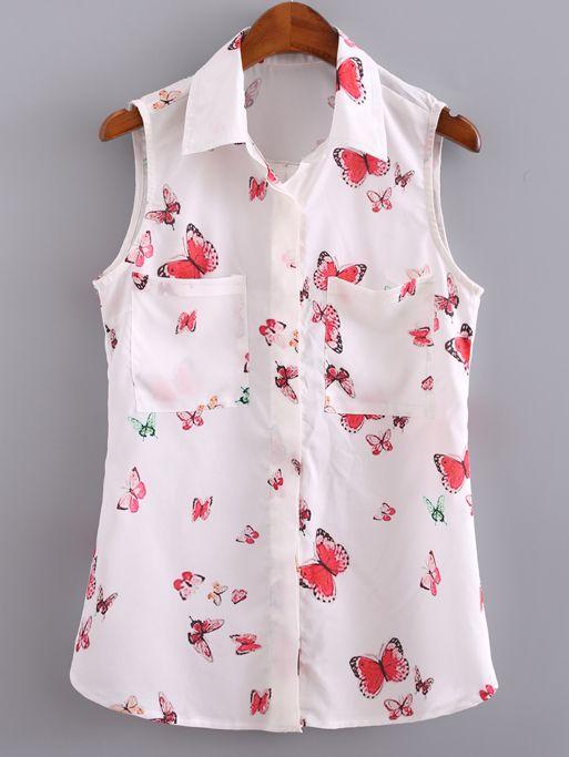 Blusa solapa bolsillos botones mariposa-(Sheinside)