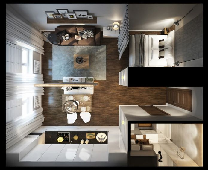 планировка интерьера квартиры-студии 30 кв. м.
