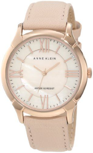 Anne Klein Women's AK/1010RGLP Leather Swarovski Crystal Accented Rose Gold-Tone Dress Watch - http://www.specialdaysgift.com/anne-klein-womens-ak1010rglp-leather-swarovski-crystal-accented-rose-gold-tone-dress-watch/