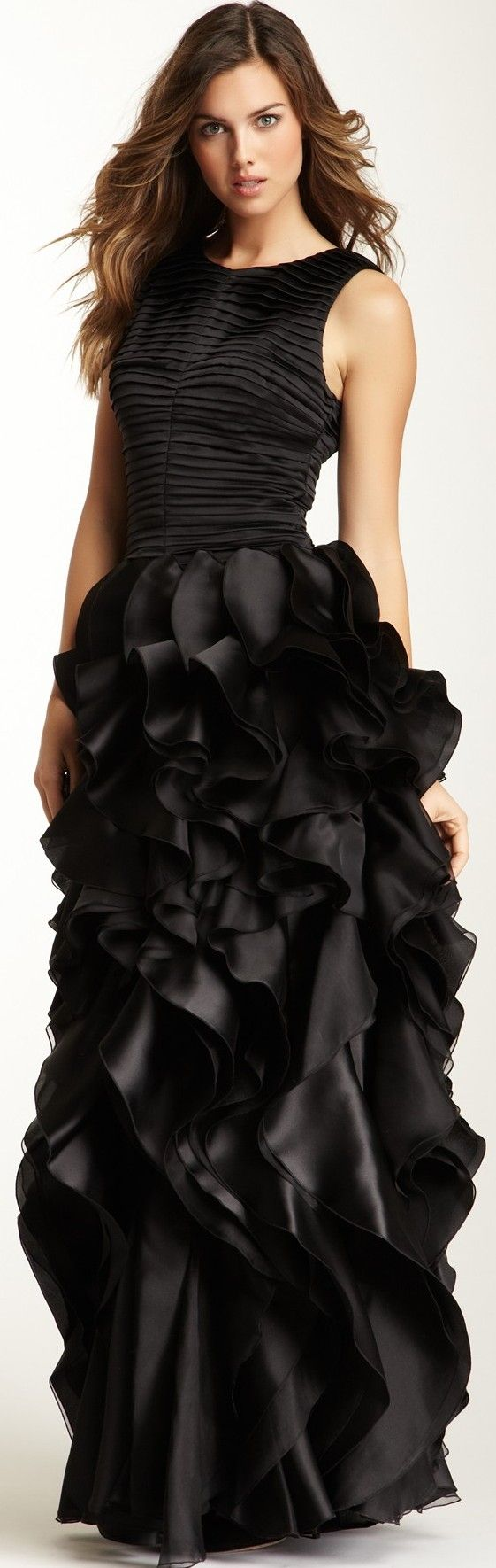 Halston Heritage Pleated Bodice Ruffle Silk Gown ♥✤ | Keep the Glamour | BeStayBeautiful