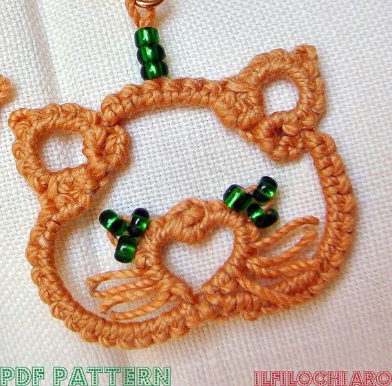 Kittens PDF Tatting Pattern Kittens earrings by Ilfilochiaro