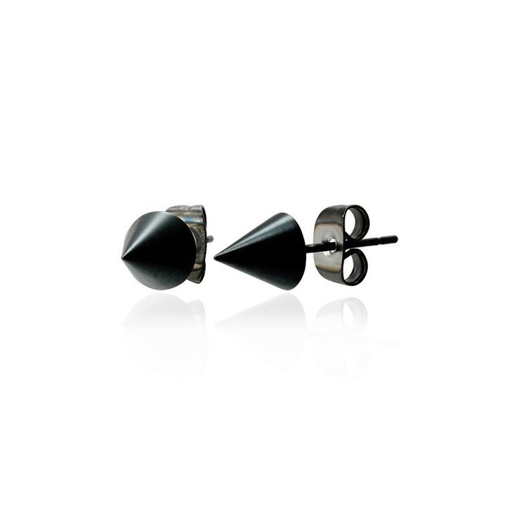 Popular black finish stainless steel stud earrings for men! A definite statement accessory. #mensfashion #mensearrings