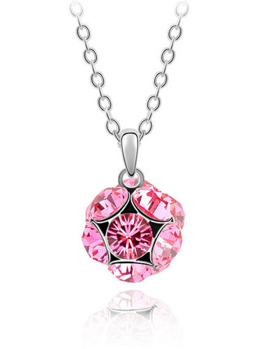 High Quality Alloy And Crystal With Platinum Plated Necklace