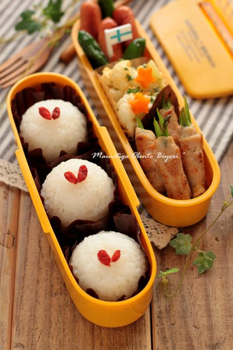 Japanese Bento Lunch, Wolfberry-Topped Onigiri Rice Balls and Pork Asparagus Roll|アスパラ肉巻き弁当 by Rmama