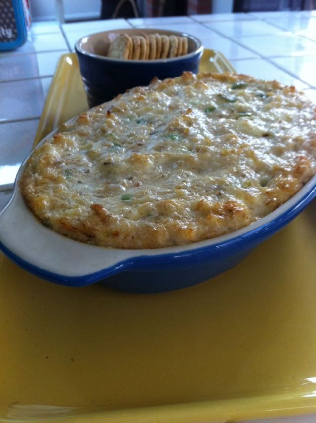 Crab Dip ~ 1/2 lb. lump crab meat, 1 (8 oz.) cream cheese, 1/2 c. mayo., 1/4 c. grated Parmesan cheese, 3 T. minced gr. onion, 2 T. Worcestershire sauce, 2 T. lemon juice, 1 t. hot sauce, 1/2  t. Old Bay Seasoning, salt and pep. to taste ...Bake 325' for 35 to 40 min.... Serve with crackers ....Yum!