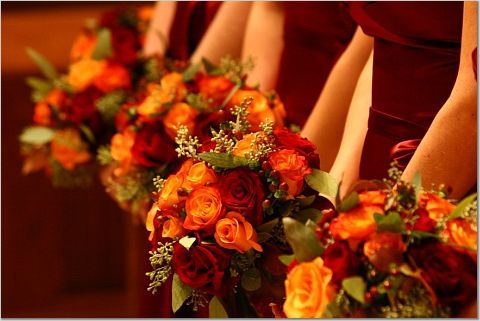 Love this one! I like the colours and that they are not perfect round bouquets!