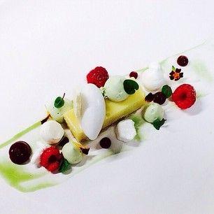 Yuzu bar, basil mousse, coconut rock, basil syrup, raspberry, coconut sorbet, coconut meringue by @bachour1234 #TheArtOfPlating