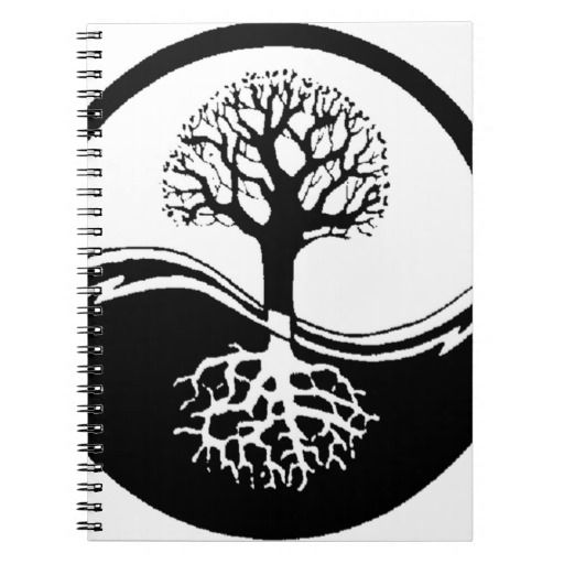 Cool Tree Black And White: Cool Tree In Black And White Notebook
