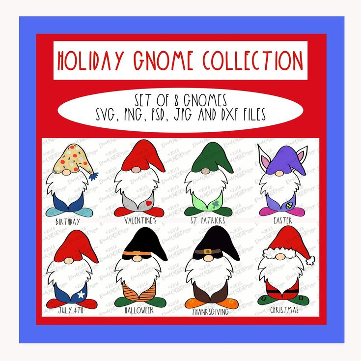 Download Gnome SVG for 8 Holidays | Cuttable | Cricut | Silhouette ...