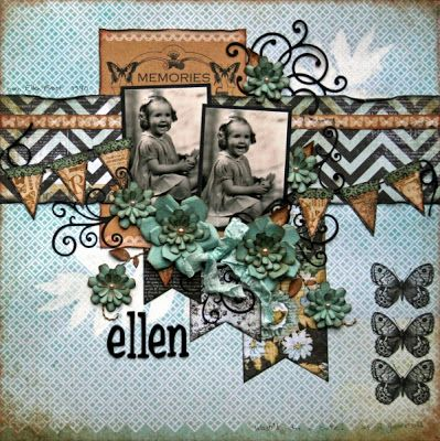 Ellen - layout made with Kaisercraft 75 Cents collection and My Favorite Things Die-namics sentimental flourish, fancy flourish, and banner day dies available from the Scrap Town Lady on-line store.