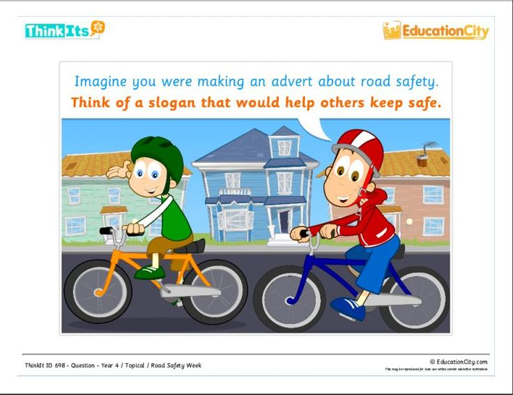 Road Safety for KS2: What slogan would you create to help keep your friends safe on the roads? See if you included everything important here: http://www.educationcity.com/uk/topicals/topical-printables/2013-nov/road-safety.