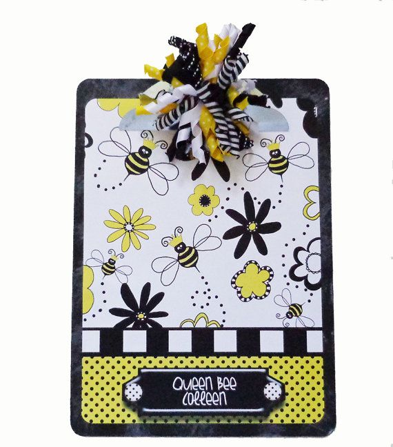 Queen Bee Altered Decorative Personalized Clipboard on Etsy, $15.99