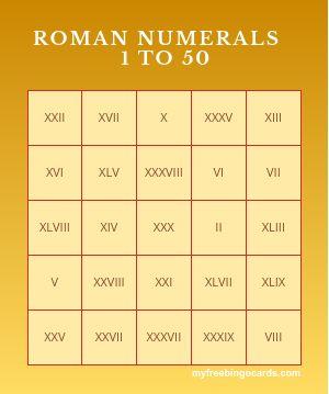 Worksheet Roman Numbers 1-50 les 25 meilleures de la roman numerals 1 50 sur bingo