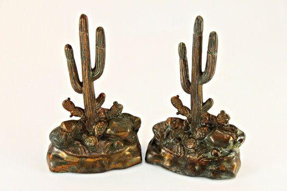 Bookends, Dodge Bookends, Cactus Bookends, Metal Bookends, Saguaro Cactus Bookends, Western Decor, Southwestern Decor, Collectible Bookends