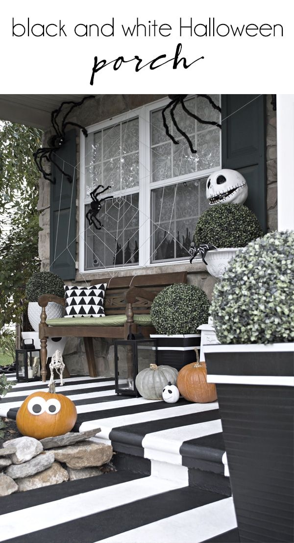 Black And White Halloween Front Porch Halloween Porch Fun Halloween Decor Halloween Porch Decorations