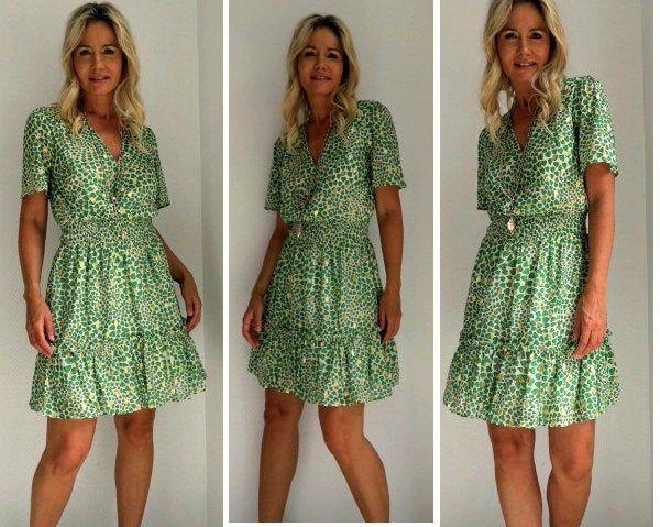 MAXIKLEID Leoparden NEU weiß grün bodenlanges Sommer Leo Kleid Boho Hippie Dress