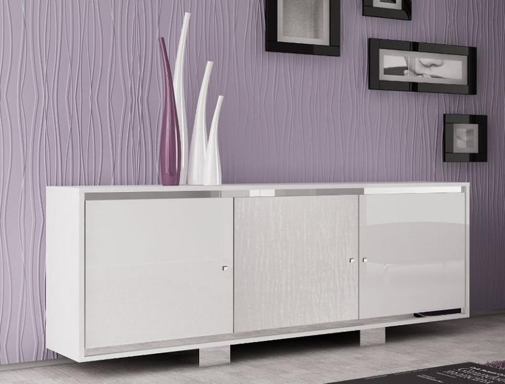 Caprice Contemporary 3 Door Sideboard In White High Gloss Doors Glass Croco
